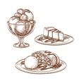 Set of desserts vector image vector image