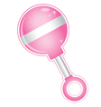 Shiny girl baby pink rattle toy vector image