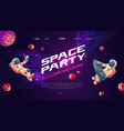 space party cartoon flyers invite to music show vector image vector image