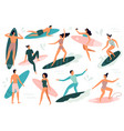 surfing people surfer standing on surf board vector image