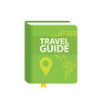 travel guide book icon world map and pin in cover vector image vector image