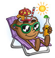 tropical coconut drink cartoon on vacation vector image vector image