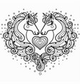 two unicorns with a long mane the magical animal vector image vector image