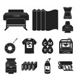 typographical products black icons in set vector image