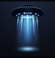 ufo realistic alien spaceship with blue light vector image vector image
