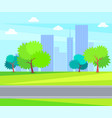 urban buildings and offices green tree on backdrop vector image vector image