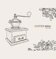 vintage coffee grinder hand drawn sketch vector image vector image