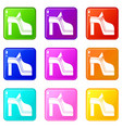 women shoe set 9 vector image