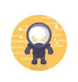 alien astronaut round icon in flat style vector image