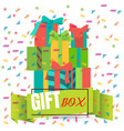 banner with gift boxes and confetti vector image vector image