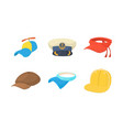 cap icon set cartoon style vector image vector image