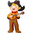 cartoon cowboy playing guitar vector image