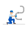 cartoon of young plumber at work vector image vector image