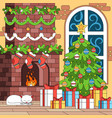 christmas coloring indoor composition vector image