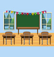 classroom with desks and chalkboard vector image