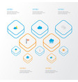 climate icons flat style set with lightning vector image