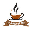 coffee shop ribbon cup of coffee background vector image vector image