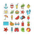 collection summer icons set outline holiday vector image