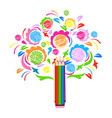 colorful background with a beautiful tree vector image vector image