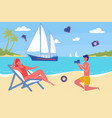 couple in love summer on vacation ocean beach vector image