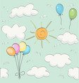 cute baby cloud pattern and balloons vector image vector image
