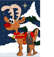 cute little reindeer with gifts in winter vector image vector image