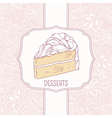 Dessert menu template with sweet cake and doodle vector image