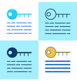 digital key icon set in flat and line style vector image