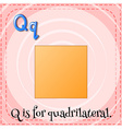 Flashcard letter Q is for quardrilateral vector image vector image
