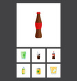 flat icon beverage set of drink carbonated juice vector image vector image
