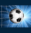 football or soccer ball flying into the goal vector image vector image