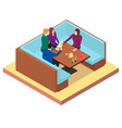 friends drink beer at a table in a bar vector image vector image