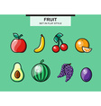 Fruit set in flat style with a stroke vector image