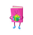funny humanized pink book character holding gift vector image