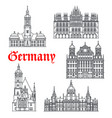 germany famous architecture buildings icons vector image vector image
