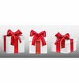 gift or present boxes with red bow set packages vector image