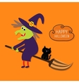 Happy Halloween witch and black cat Cloud vector image