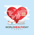 heartbeat with drugs to world health day vector image