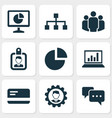 job icons set with structure analytics team and vector image vector image