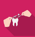 manipulation gesture of the hands of the dentist vector image