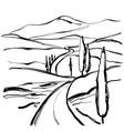 mountain road graphic art black white landscape vector image