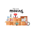 moving to new office with boxes office vector image