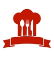 restaurant icon with red chef hat vector image vector image