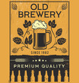 retro poster brewery template vector image