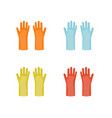 rubber gloves in different colors equipment vector image