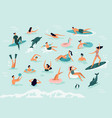 sea swimming active people diving swim with vector image vector image