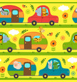 seamless pattern with traveling animals vector image