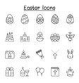set easter related line icons contains such vector image vector image