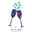 snowflakes on night sky toasting wine glasses vector image vector image