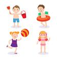 Summer Vacation Concept Happy Kids Having Fun vector image vector image